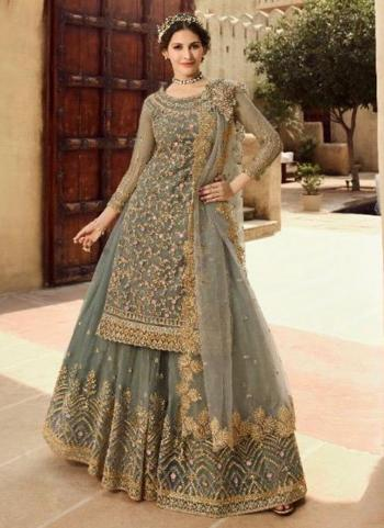 Grey Net Bridal Wear Sequins Work Sharara Suit