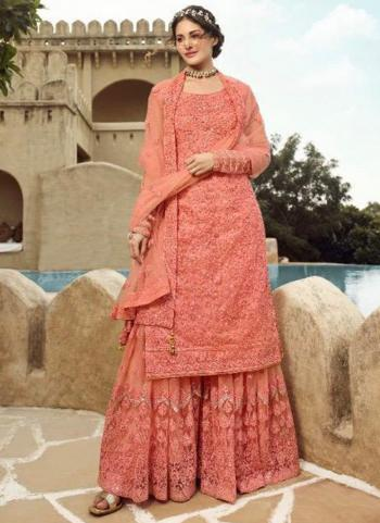 Pink Net Bridal Wear Embroidery Work Sharara Suit