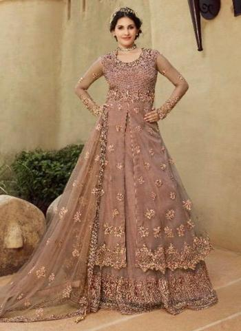 Pink Net Bridal Wear Sequins Work Sharara Suit
