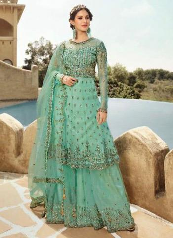 Pista Green Net Bridal Wear Sequins Work Sharara Suit