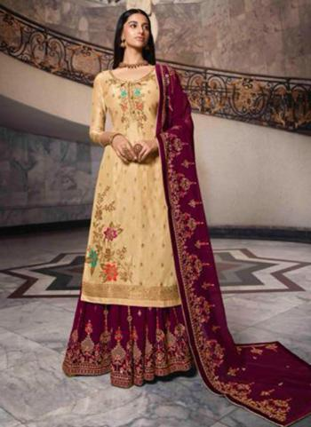 Beige Dola Jacquard Party Wear Swarovski Work Sharara Suit
