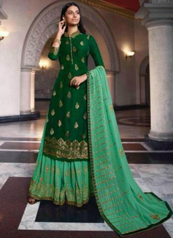 Dark Green Dola Jacquard Party Wear Swarovski Work Sharara Suit