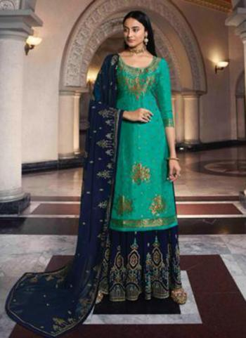 Green Dola Jacquard Party Wear Swarovski Work Sharara Suit