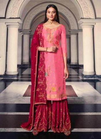 Pink Dola Jacquard Party Wear Swarovski Work Sharara Suit