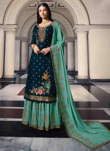 Rama Dola Jacquard Party Wear Swarovski Work Sharara Suit