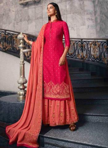 Rani Dola Jacquard Party Wear Swarovski Work Sharara Suit