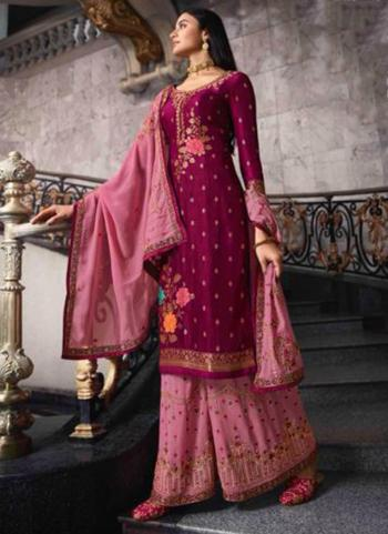 Wine Dola Jacquard Party Wear Swarovski Work Sharara Suit