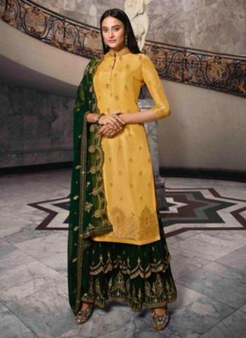 Yellow Dola Jacquard Party Wear Swarovski Work Sharara Suit