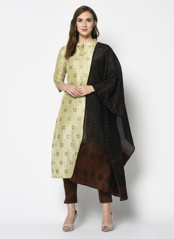 Cream Cotton Casual Wear Weaving Straight Suit