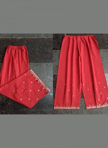 Red Khadi Silk Casual Wear Aari Work Palazzo