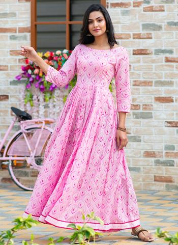 Pink Pure Muslin Casual Wear Printed Work Gown