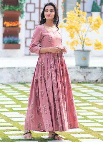 Rose Pink Pure Muslin Casual Wear Printed Work Gown