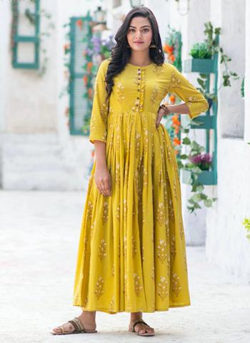 Yellow Pure Muslin Casual Wear Printed Work Gown