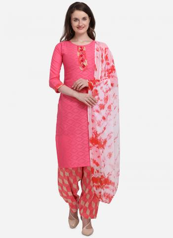 Dark Pink Cotton Regular Wear Printed Salwar Suit