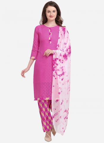 Pink Cotton Regular Wear Printed Work Salwar Suit