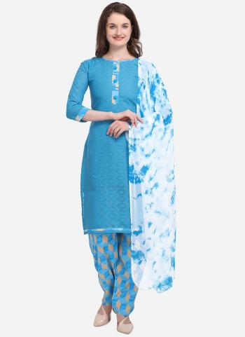 Sky Blue Cotton Regular Wear Printed Salwar Suit