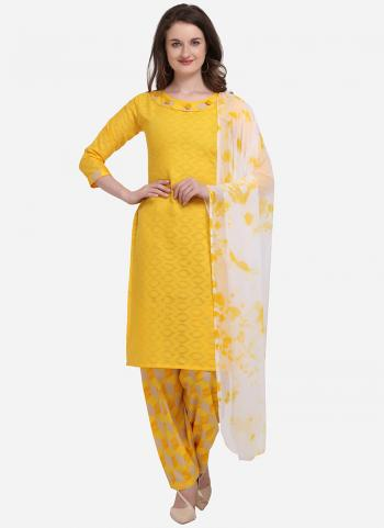 Yellow Cotton Regular Wear Printed Salwar Suit