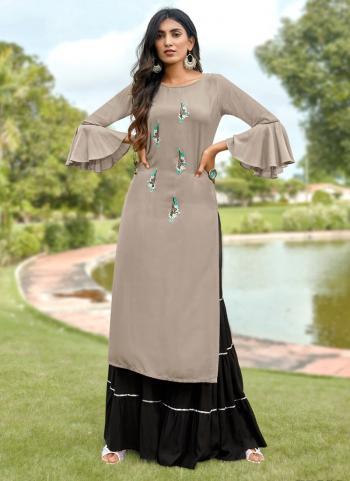 Grey Fancy Rayon Casual Wear Embroidery Work Kurti With Sharara