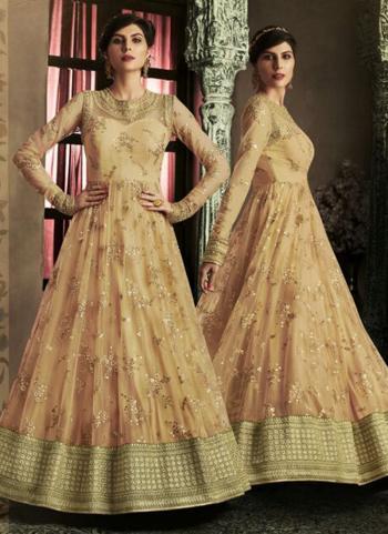 Beige Net Reception Wear Heavy Embroidery Work Anarkali Suit