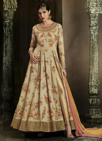 Cream Handloom Silk Reception Wear Heavy Embroidery Work Salwar Suit
