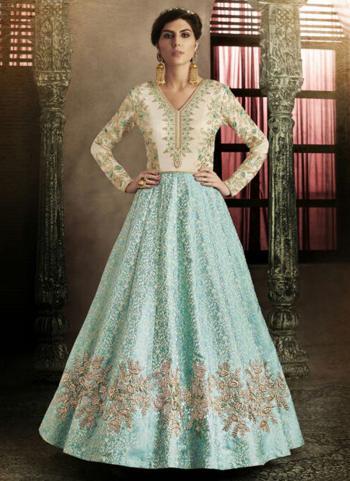 Firozi Brocade Silk Reception Wear Heavy Embroidery Work Anarkali Suit