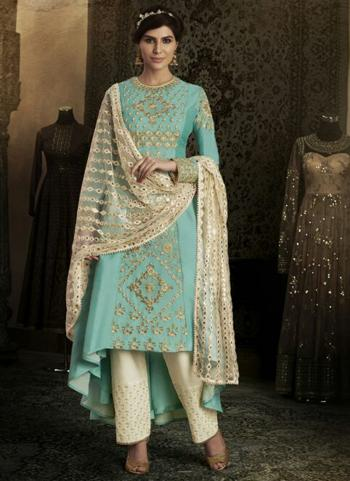 Firozi Silk Reception Wear Heavy Embroidery Work Salwar Suit