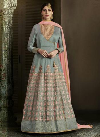 Grey Slub Silk Reception Wear Heavy Embroidery Work Salwar Suit