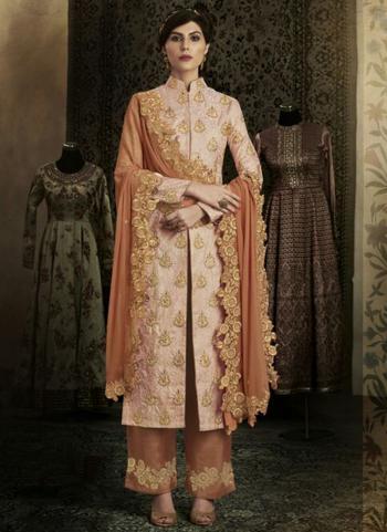 Peach Brocade Silk Reception Wear Heavy Embroidery Work Salwar Suit