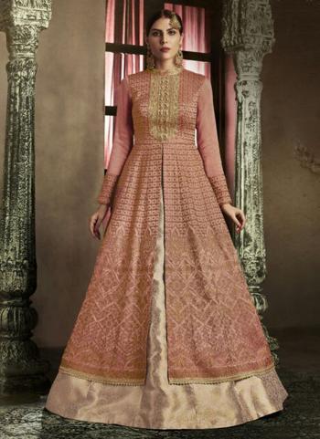 Pink Slub Silk Reception Wear Heavy Embroidery Work Anarkali Suit