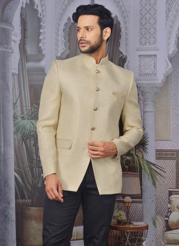 Beige Jute Jacquard Party Wear Fancy Pattern Jacket