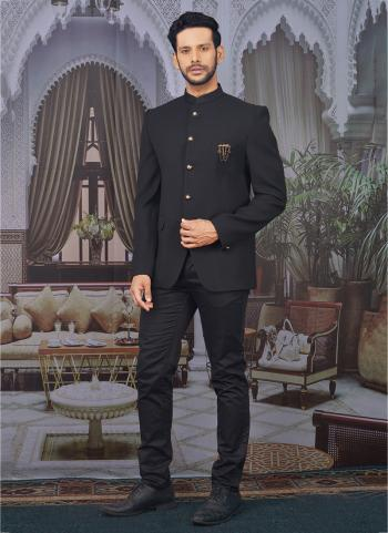 Black Jacquard Party Wear Fancy Pattern Jodhpuri Jacket