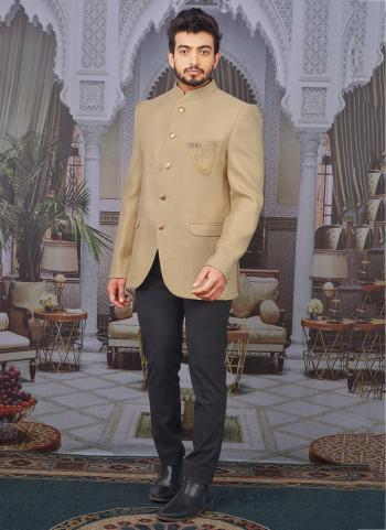 Golden Jute Jacquard Party Wear Pattern Jodhpuri Jacket