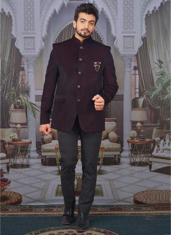 Wine Velvet Party Wear Fancy Pattern Jodhpuri Jacket