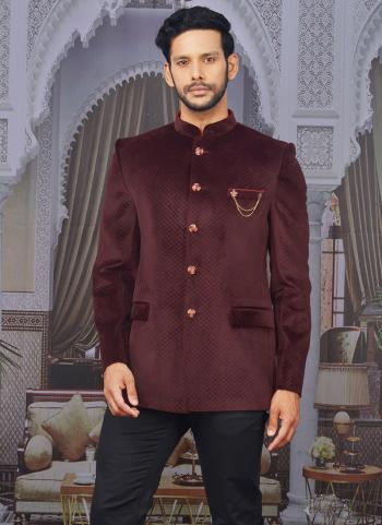 Wine Velvet Party Wear Pattern Jodhpuri Jacket
