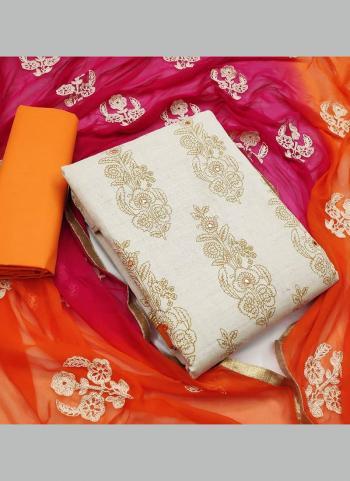 Orange Khadi Cotton Festival Wear Mirror Work Salwar Suit