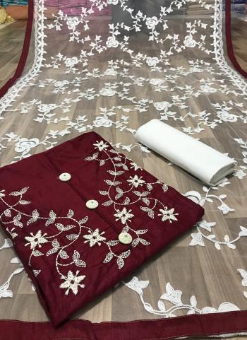 Maroon Glace Cotton Casual Wear Fancy Embroidery Work Salwar Suit