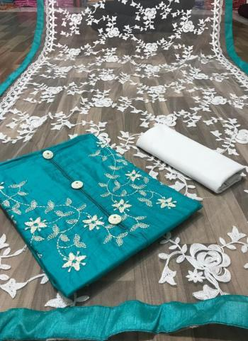 Sky Blue Glace Cotton Casual Wear Embroidery Work Salwar Suit