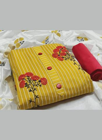 Yellow PC Cotton Daily Wear Printed Salwar Suit