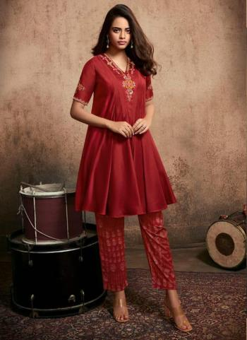 Red Berry Silk Party Wear Embroidery Work Kurti With Pant