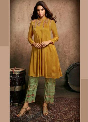 Yellow Berry Silk Party Wear Embroidery Work Kurti With Pant
