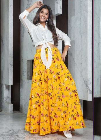 Yellow Rayon Party Wear Fancy Printed Work Top With Skirt