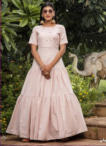Dusty Pink Cotton Festival Wear Sequins Work Gown