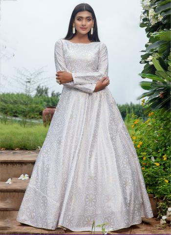 White Cotton Festival Wear Printed Work Gown