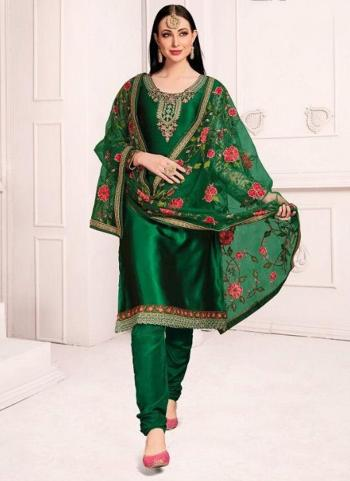 Dark Green Georgette Wedding Wear Embroidery Work Churidar Suit