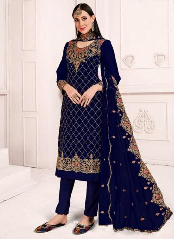 Navy Blue Georgette Wedding Wear Embroidery Work Churidar Suit