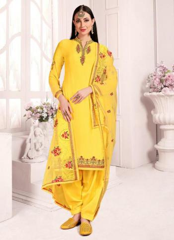 Yellow Georgette Wedding Wear Embroidery Work Patiala Suit