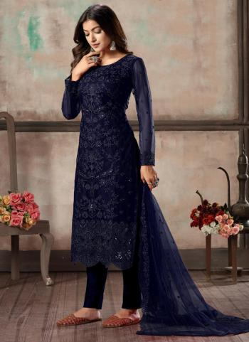 Navy Blue Net Festival Wear Sequins Work Churidar Suit