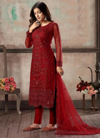 Red Net Festival Wear Sequins Work Churidar Suit