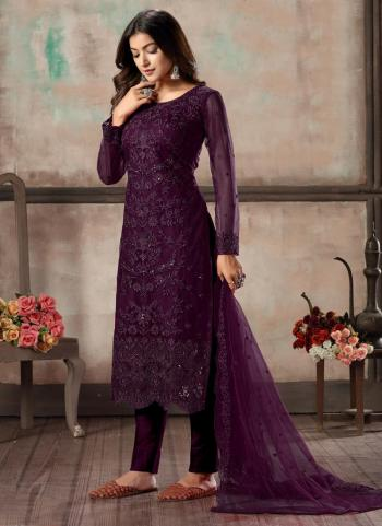 Wine Net Festival Wear Sequins Work Churidar Suit