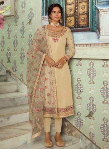 Beige Silk Party Wear Swarovski Work Straight Suit